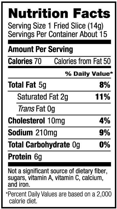 Extra Thick Cut Bacon Nutrition Facts