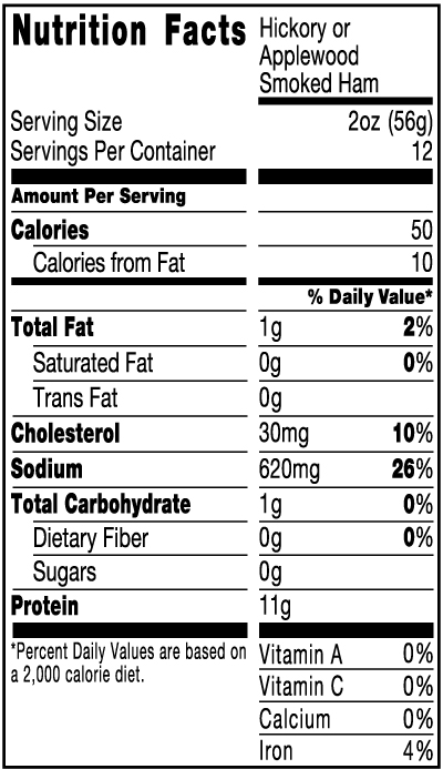 Applewood Smoked Ham, 24 oz Nutrition Facts